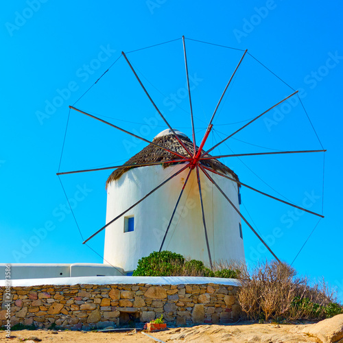 Aluminium Prints Mills Old windmills of Mykonos
