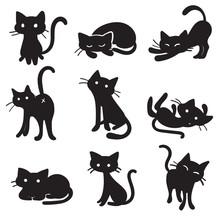 Vector Cartoon Cat Poses
