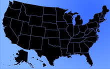 Detailed Map Of Usa States At Blue Background