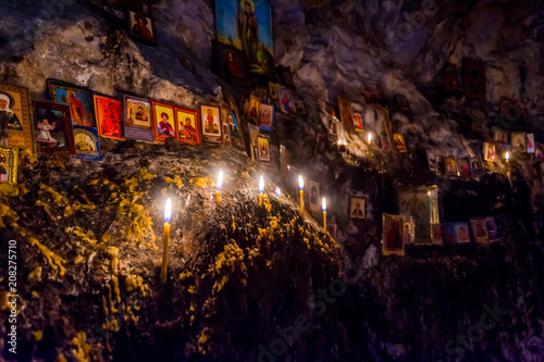 Canvas Prints Narrow alley Candles and relics in the cave