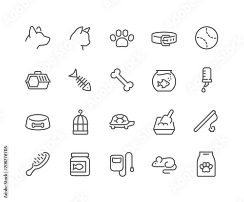 Simple Set of Pet Related Vector Line Icons. Contains such Icons as Collar, Toys, Pet Food and more. Editable Stroke. 48x48 Pixel Perfect. Fototapete