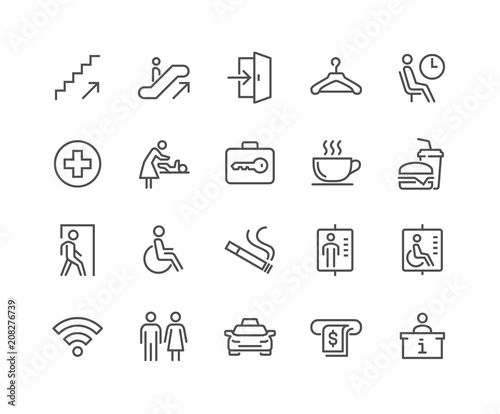 Fotomural  Simple Set of Public Navigation Related Vector Line Icons