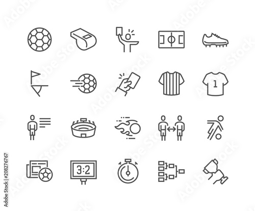 Cuadros en Lienzo  Simple Set of Soccer Related Vector Line Icons