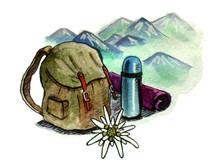 Mountain Tourism Emblem. Backp...