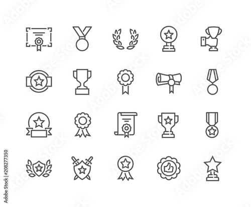Fotografie, Obraz  Simple Set of Awards Related Vector Line Icons