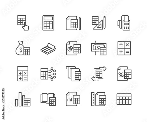 Fotografía  Simple Set of Calculation Related Vector Line Icons