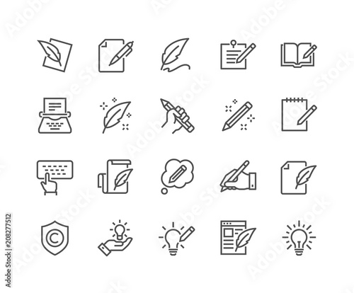 Fotografía  Simple Set of Copywriting Related Vector Line Icons