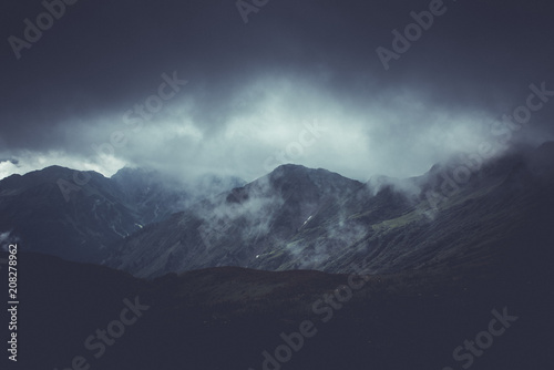 Brooding atmospheric mountain landscape