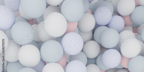 Fototapety, obrazy: Abstract of color sphere balls are scattered as background.3d rendering