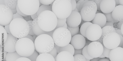 Fototapety, obrazy: Abstract of white sphere balls are scattered as background.3d rendering