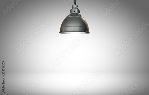 Fotografie, Obraz  Hanging light on white background with open template for product with copyspace