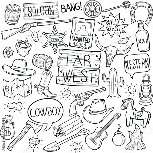 Far West America Doodle Icon Hand Draw Line Art