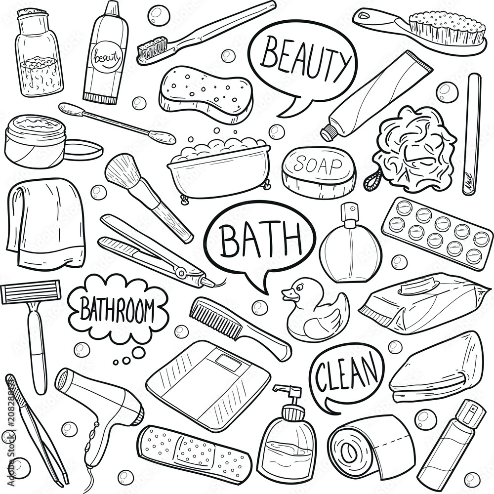 Photo art print bathroom wc tools doodle icon hand draw line art europosters
