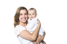 Mother With Baby Isolated On W...