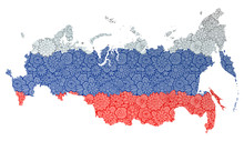 Flag And Map Of Russian Federa...