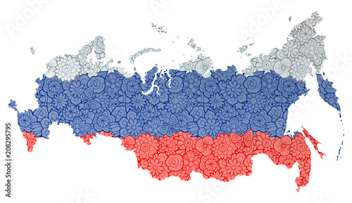 Flag and map of Russian Federation with flowers Tablou Canvas