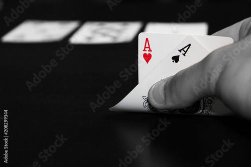 Photo  Hand show pair of aces chance of winning