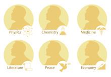 Set Of Stylized Nobel Medals. ...