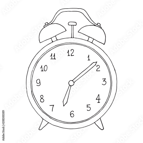 Obraz Hand drawn alarm clock isolated on white background. Vector illustration of a sketch style. - fototapety do salonu