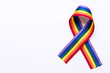 canvas print picture - Gay pride LGBT rainbow ribbon on white background