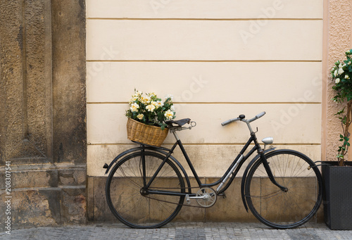 Recess Fitting Bicycle Old bicycle with flowers in metal basket