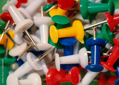 Fényképezés Colorful Pushpins macro from above