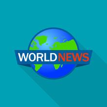 Global World News Logo. Flat I...