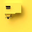 canvas print picture - Minimal concept, Laptop on table and chair yellow color top view