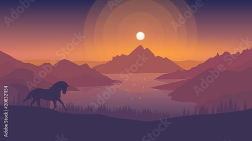 Foto op Plexiglas Crimson Horse in the sunset [3840x2160]