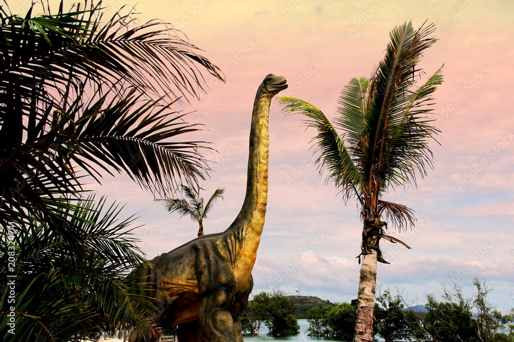 Sauropods Dinosaur on beautiful landscape background.