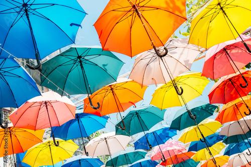 Obraz Colorful umbrella background in Taichung, Taiwan - fototapety do salonu