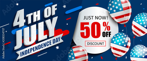 Fotografia  50 per cent off sale banner with balloons for Independence day