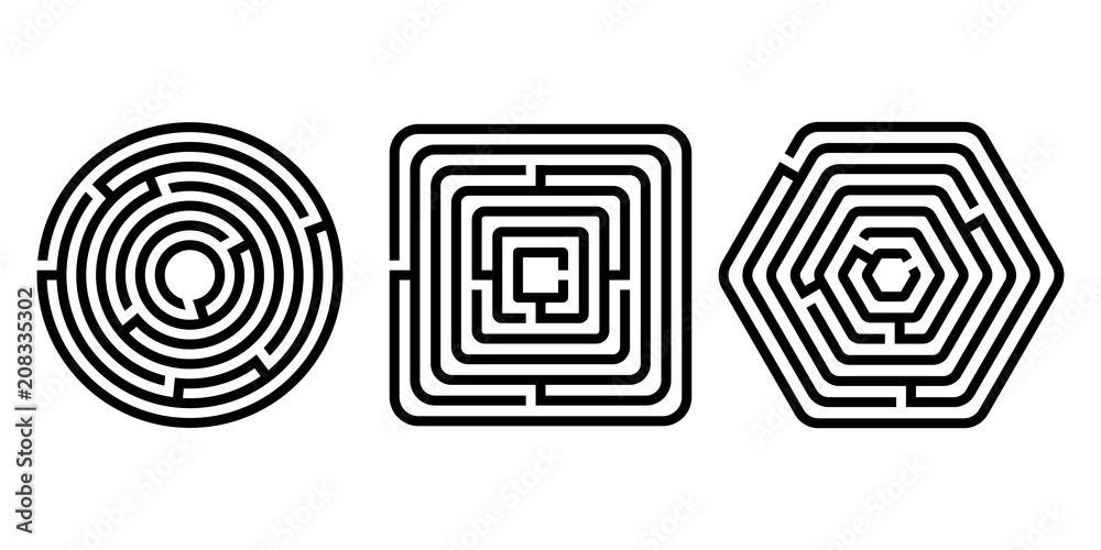 Fototapeta Black and white different shapes maze puzzles set, vector