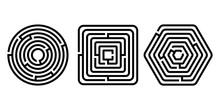 Black And White Different Shapes Maze Puzzles Set, Vector