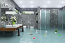 Überschwemmtes Modernes Badez...