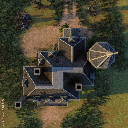 Láminas  scary house on moonlight