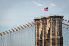 American Flag On Brooklyn Bridge, New York