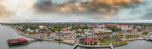 Aerial View Of St Augustine From Drone. Sunset Panorama From City River, Florida - USA
