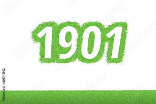 Poster  Jahr 1901 - weiße Zahl 1901 mit frischen gewachsenen grünen Grashalmen Symbol