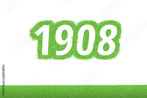 Fotografie, Obraz  Jahr 1908 - weiße Zahl 1908 mit frischen gewachsenen grünen Grashalmen Symbol