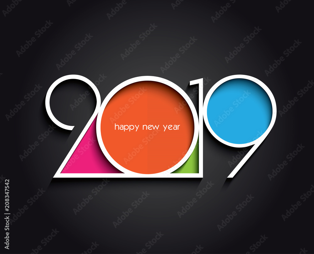 Fototapeta 2019 Happy New Year or Christmas background creative design for your greetings card, flyers, invitation, posters, brochure, banners, calendar