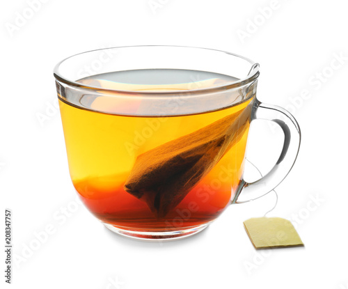 Staande foto Thee Glass cup of hot tea on white background