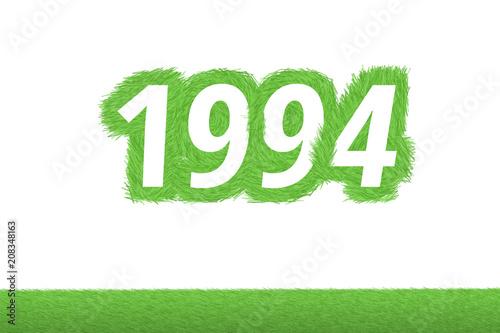 Fotografia  Jahr 1994 - weiße Zahl 1994 mit frischen gewachsenen grünen Grashalmen Symbol
