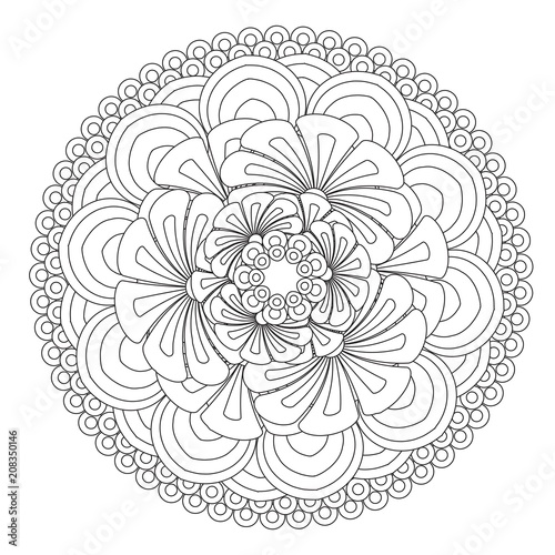 Fotografie, Obraz  Flower Mandala vector illustration