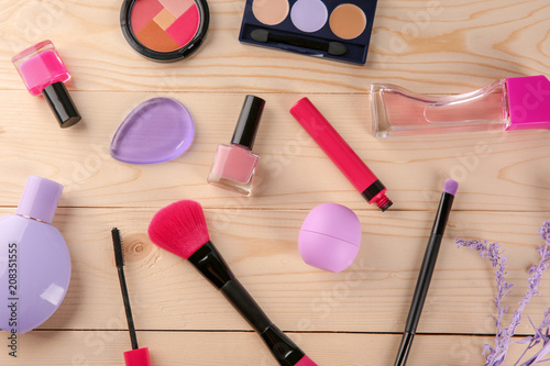 Fototapety, obrazy: Flat lay composition with professional cosmetics on wooden background