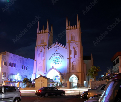 Papiers peints Edifice religieux Night view of Church of St. Francis Xavier in Malacca, Malaysia