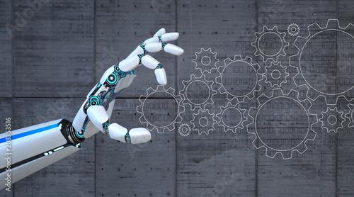 Photo  Robot Hand Gears Flat