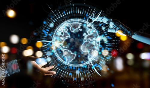 Fotobehang Sportwinkel White robot hand using globe network hologram with America Usa map 3D rendering