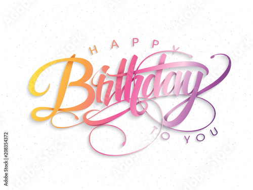 Photo  Happy Birthday greeting card with lettering design