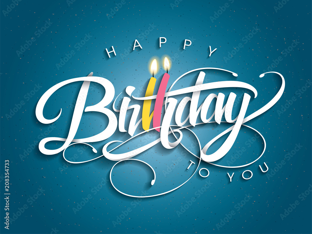 Fototapety, obrazy: Happy Birthday greeting card with lettering design